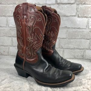 Western Low Heel Leather Boots